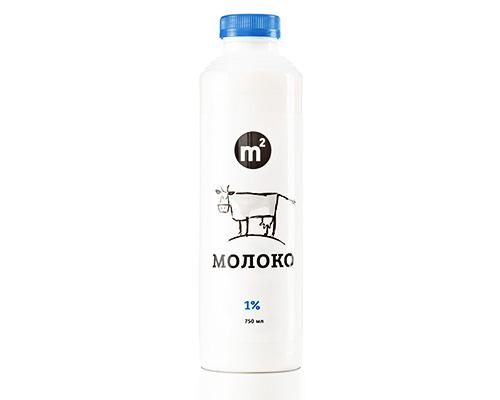 Молоко 1% обезжиренное пастеризованное, 750 мл