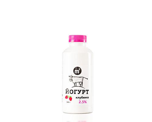 Йогурт питьевой 2,5% клубника, 500 г