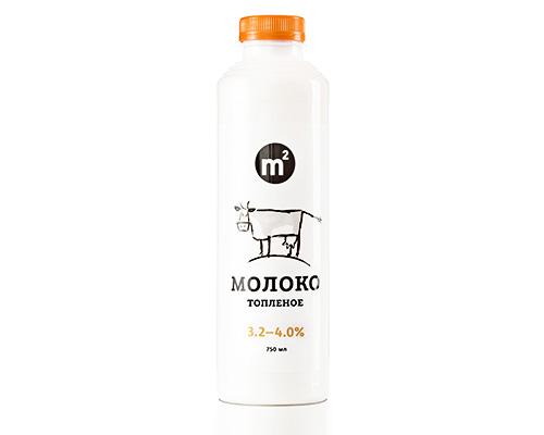 Молоко 3,2-4,0% цельное топлёное, 750 мл