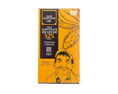 Шоколад молочный 52%, с апельсином, 65 г